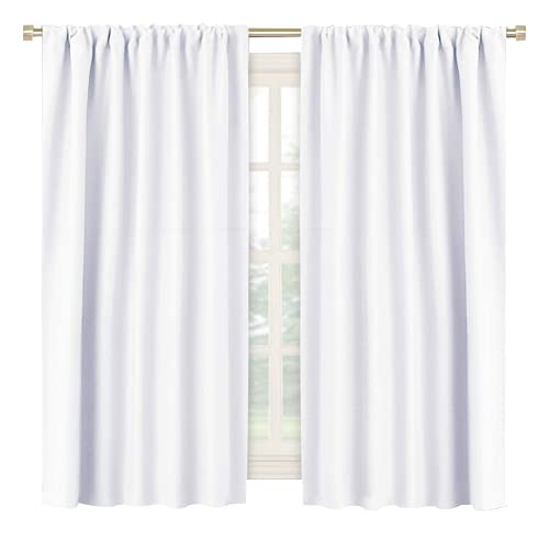 RYB HOME Room Darkening Thermal Insulated Curtains 50% Light Block Curtains Windows Dressing Privacy Protect for Bathroom Kids Nursery, Wide 42 x Long 54 inch, Pure White, 1 Pair