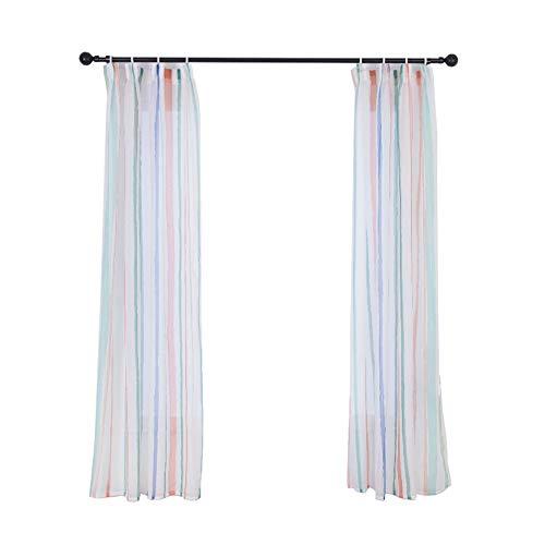 Duokon raamgordijn, polyester, gestreepte verticale lijst, venstergordijn, verduisterende panelen, gordijnen met perforatie, 1,35 x 2 m
