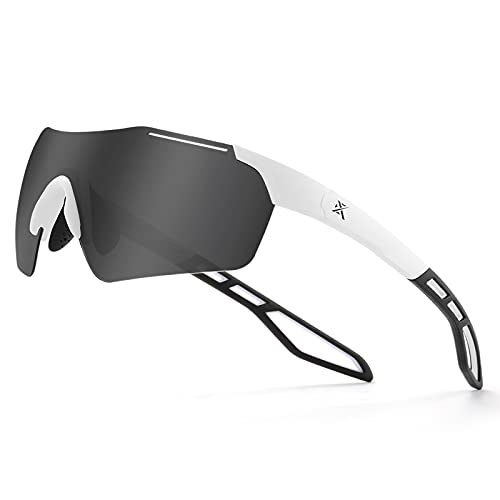 Extremus Diablo Polarized Sports Cycling Sunglasses, Mens Womens Baseball Sunglasses, Ideal for Running Fishing Biking, Matte White Frame, Smoke Lens