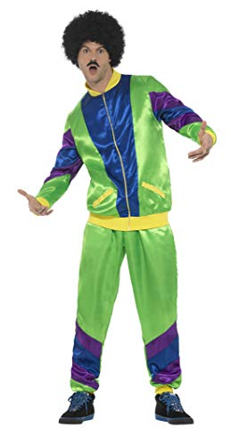 Smiffys mens 80s Height of Fashion Shell Suit Costume, Male Adult Sized Costume, Green, L - US Size 42 -44