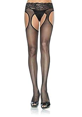 Leg Avenue Women's Plus Size Lace Waist Sheer Garter Pantyhose, Black from Leg Avenue Women's Socks/Hosiery
