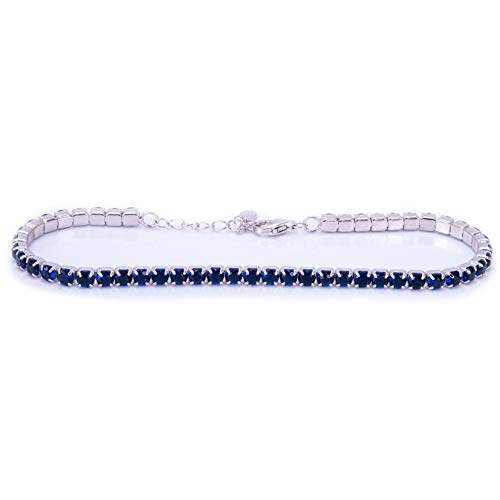 Remo Gammella Joyas pulsera hombre mujer tenis plata 925 circonitas corte brillante diamante de 3 mm colores blanco, negro, rojo, verde, azul, aguamarina y rosa ajustables 17-20 cm Azul zafiro.