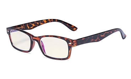 Eyekepper Eyekepper Computer-Lesebrille mit Federscharniere Bügle in UV-Schutz, Anti-Blau-Strahlen Blendschutz und kratzfest Gläser (Gelb getönte Gläser, in Schildplatten Fassung)
