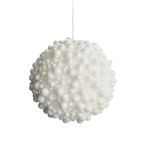 Homeford Glittered Artificial Berry Ball Christmas Ornament, White, 4-Inch