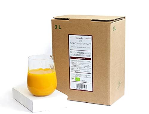 3 litri di succo di olivello spinoso BIO naturalmente torbido - 100% di succo diretto da bacche di olivello spinoso BIO, senza additivi - succo di olivello spinoso BIO in pratica confezione di succo