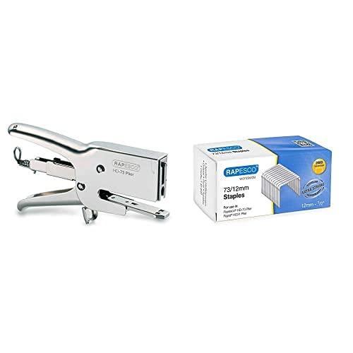 Rapesco 1169 HD73 Grapadora de Pinza de Gruesos, Gris + 1261 Grapas Galvanizadas 73/12 mm Caja de 2.000 Unidades