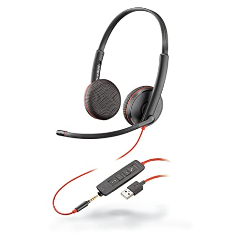 Plantronics - Blackwire 3225 USB-A Wired Headset - Dual-Ear (Stereo) with Boom Mic - Connect to PC/Mac via USB-A or Mobile/Tablet via 3.5 mm Connector - Works with Teams, Zoom & More