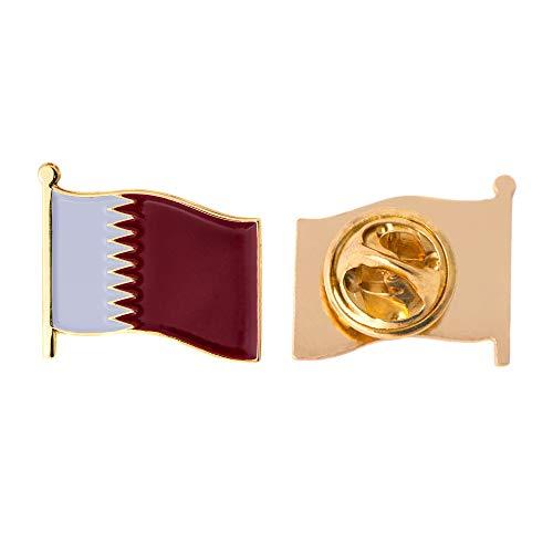 Qatar Country Enamel Made of Metal Souvenir Hat Men Women Patriotic Qatari (Waving Flag Lapel Pin)