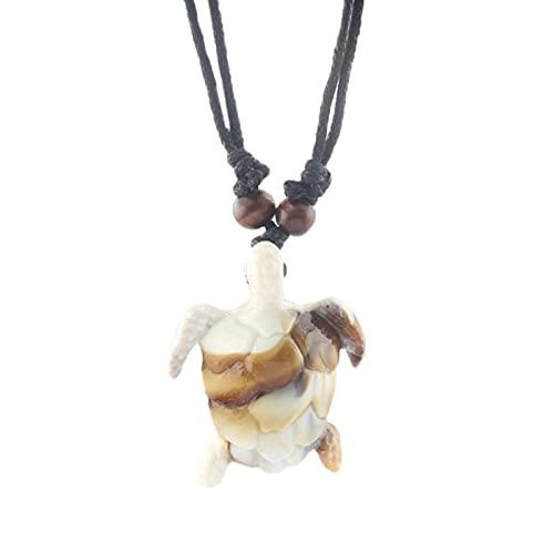 Revilium Collar con Colgante De Tortuga Marina Hawaiana De Hueso De Yak, Cordón De Cera Ajustable Negro, Collar con Dijes De Tortuga, Joyería