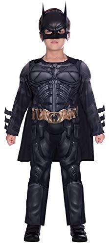 Jungen Batman Dark Knight Rises Deluxe Muskel Brust Superheld Büchertag Kostüm Verkleiden Outfit 4-12 Jahre - Schwarz, 8-10 Years
