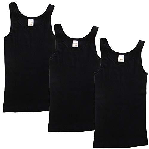 HERMKO 2000 3er Pack Mädchen Unterhemd aus 100% Bio-Baumwolle, Farbe:schwarz, Größe:140