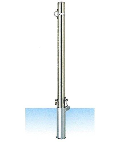 安全・サイン8 車止め サンキン メドーマルク ポストタイプ ステンレス製 差込式フタ付25mm南京錠付 フック1ケ付 φ60.5×L1100mm(全長)SP1-6SK