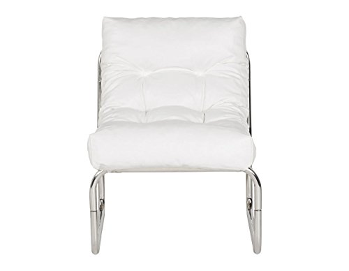 Quadratisch Moderner weiß Kunstleder Lounge Stuhl
