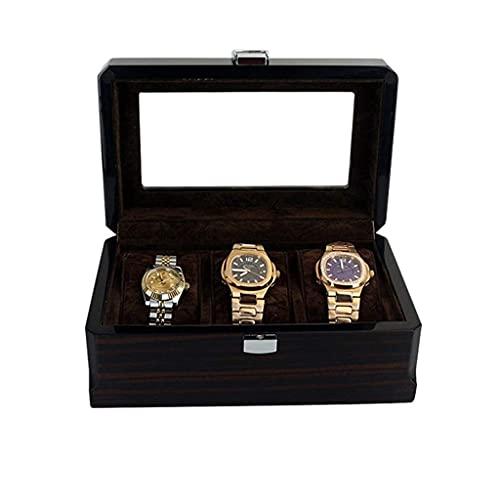 W-HUAJIA 3 Slots Wooden Watch Box Watch Titular Box Watch Box Cuadro Pulsera Reloj Boxes Reloj de Madera Caja de Almacenamiento