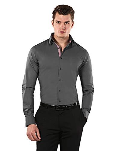 Vincenzo Boretti Herren-Hemd Body-Fit (besonders Slim-fit tailliert) Uni-Farben bügelleicht - Männer lang-arm Hemden für Anzug Krawatte Business Hochzeit Freizeit dunkelgrau/weinrot 39/40