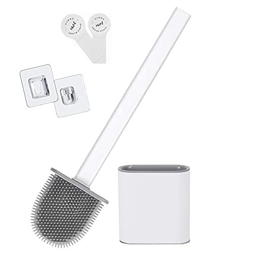 Yuanyiheng wc bürste silikon toilettenbürste ,Toilettenbürste und Behälter,Toilettenbürste mit schnelltrocknendem Halter Wandtoilettenbürste für Bad und WC(weiß)