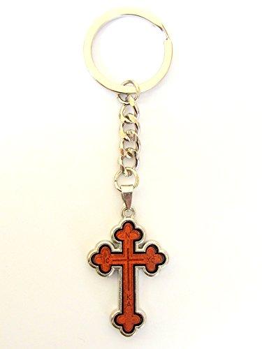 Zwei-seitige Christian-orthodoxe griechisch Religiöse Schlüsselanhänger mit Holz und Metall Kreuz/3