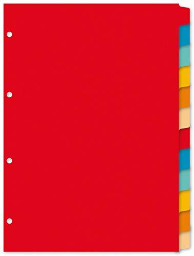 Kangaro Karton-Register DIN A4 blanko beschreibbar. 180 g/m² Manilla recycelter Karton. 12 teilig