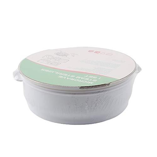 CNmuca Esterilizador de mamadeira para micro-ondas Caixa de esterilização de mamadeira esterilizadora a vapor Esterilizador de utensílios de mesa de alta temperatura Esterilizador de brinquedo branco