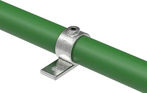 Fenau | Anillo de ajuste Soporte con una sola lengüeta/brida simple, Ø 33,7 mm, anillo de fijación, fundición maleable, galvanizado en caliente, incl. tornillos