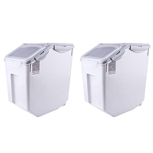 MAJOZ0 2Pcs 20L Reis Box, Kunststoff Reis Vorratsbehälter,Aufbewahrungsboxen, Reis Eimer Organisator Kasten für Reiskorn-Korn, Küche Getreide Lebensmittel Reis Pasta Behälter