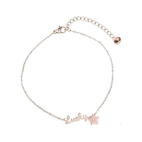 junmo shop Tobillera para mujer con diseño de estrella de la suerte, para mujer, oro rosa, ajustable, acero titanio, juego de joyas para el día de la madre, cumpleaños y Navidad, el mejor regalo
