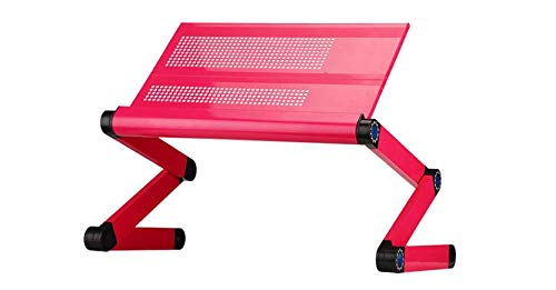 """Goldball Portable Laptop Computer Desk Adjustable Vented Laptop Table Portable Bed Tray Book Stand Multifunctional & Ergonomics Design Dual Layer 17"""" Laptop Computers or Smaller (Rose Red)"""
