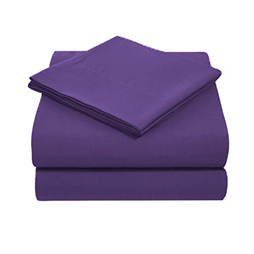 JS Sanders Collection Sheet Set 4 Piece King Size with 16' Deep Pocket by Sleepific Linen & Bedsheet 800 Thread-Count, 100% Egyptian Cotton Solid Purple