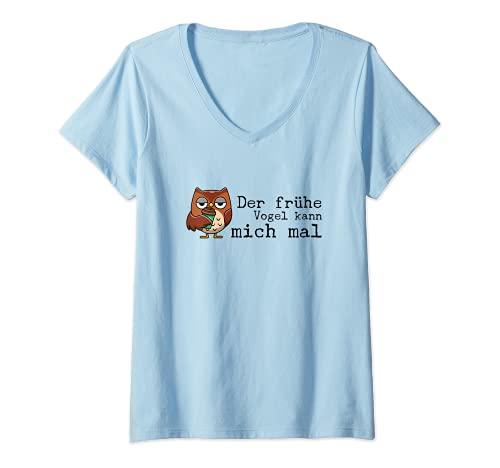 Damen Der frühe Vogel kann mich mal Geschenk Spruch Lustig Herren T-Shirt mit V-Ausschnitt