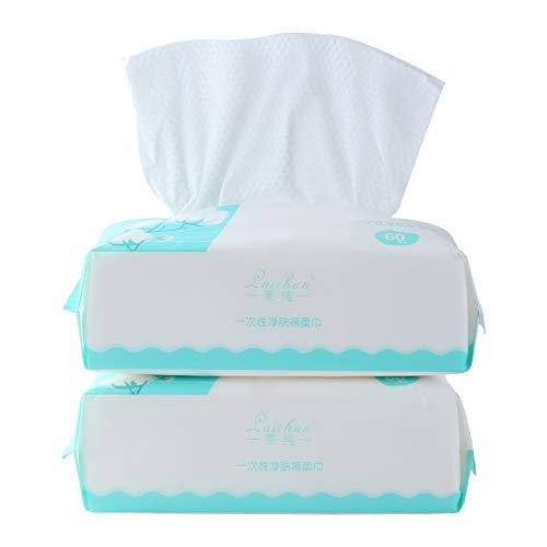 Face Towels(2 Pack 120 Count), 60 Count Ultra Soft Extra Thick Disposable Face Tissue 100% Cotton,Dry and Wet Use,for Sensitive Skin and used as Cleaning Towelettes
