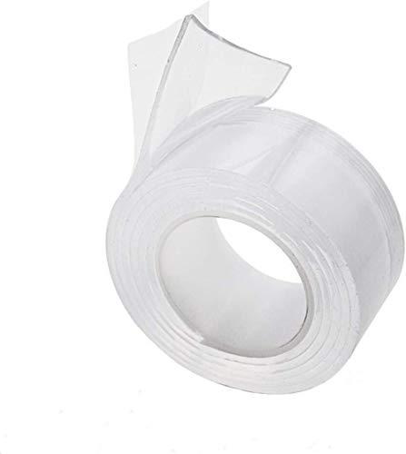 Duidelijke Nano plakband, 3M Herbruikbare multifunctionele dubbelzijdig Traceless Verwijderbare Lijm Tape Wasbaar Sterke Gel Sticky Tape voor Muur, Keuken, Trap, Tapijt, Foto's Fixing Etc 30mm*1M Helder