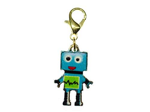 Miniblings Colgante de robots – hecho a mano I máquina mecánica científica ordenador metal azul dorado L – Colgante de cadena chapado en oro colgante para pulsera
