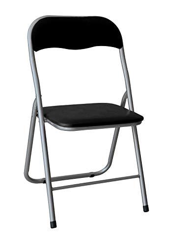 HERSIG - Silla Plegable | Silla Metalica Plegable - Color Negro y Gris