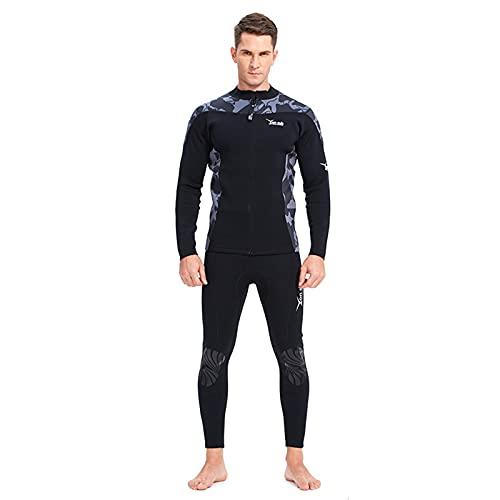 HWZZ Traje de neopreno de 2,5 mm para hombre, traje de neopreno de dos piezas de manga larga, traje de buceo térmico de buceo, camuflaje, negro, S