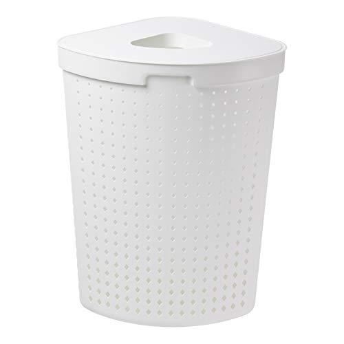Plast Team Seoul Wäschekorb mit Deckel Eckig Wäschebehälter Wäschesammler Aufbewahrungskorb Wäschetonne 62L (Weiß)