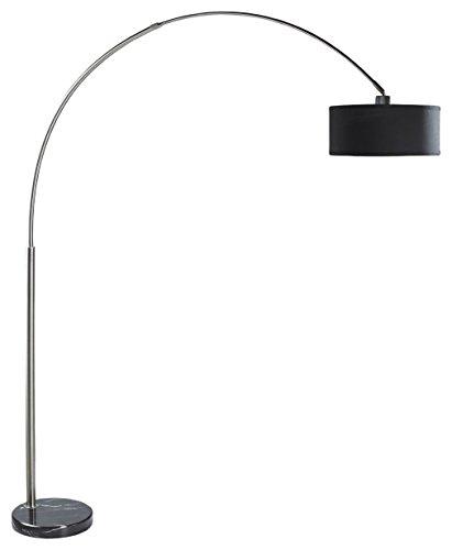 SH Lighting 6938BK Steel Adjustable Arching Floor Lamp with Marble Base