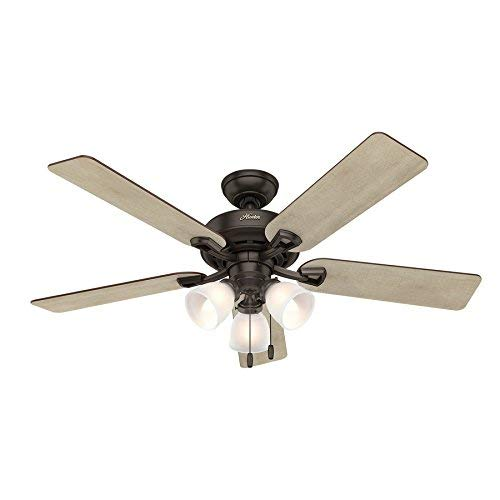 Hunter Kenney 52-in Premier Bronze Indoor Downrod Or Close Mount Ceiling Fan with Light Kit