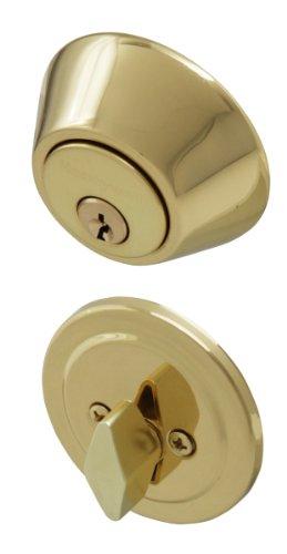 Honeywell 8111009 Single Cylinder Deadbolt, Polished Brass