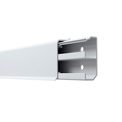 Habengut 3 m Sockelleiste aus PVC, mit integriertem Kabelkanal, Farbe: Weiß, Höhe 50 mm (2 Stück Länge 1,5 m)