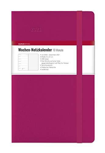 Wochen Notizkalender 18 Monate groß Berry 2021 - Taschen-Kalender 13x21 cm - mit Verschlussband & Falttasche - Juli 2020 bis Dez 2021 - Weekly - 128 Seiten