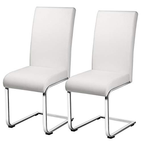 Yaheetech Set 2 Sedie da Pranzo Moderne Bianche in Ecopelle e Acciaio Cromato da Cucina Ufficio Salotto Portata 135 kg