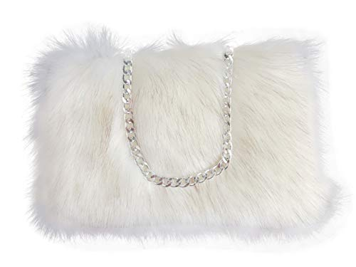 FHQHTH Faux Fur Purse Fuzzy Handbags for Women Evening Handbags Al alloy Shoulder Strap [White with Brown Tips]