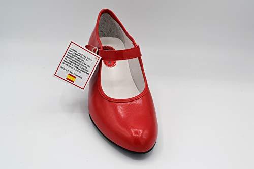 CREACIONES PASOS DE BAILE S.L. - Zapato - Carleti 15 Flamenca Rojo, Talla: 38