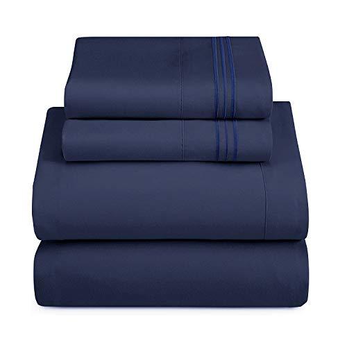 HAUSEIN Juego de cama de tamaño Queen (4 unidades, resistente a las arrugas, a la decoloración y a la decoloración, muy suave, ropa de cama de microfibra ligera, color azul marino, 155 x 200 cm)