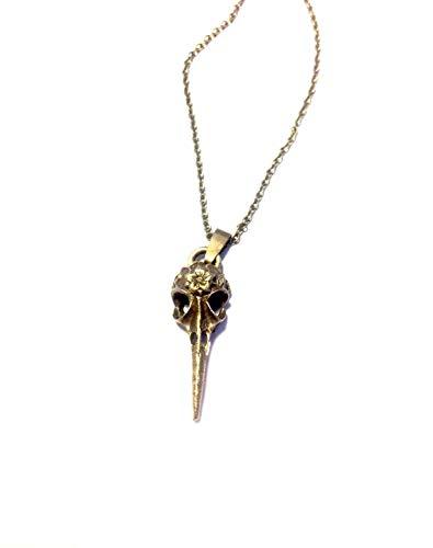 Royal Swan Halskette mit Rabenschädel, bronzefarben, Steampunk, Halloween, Gothic, Schwermetall, Zoologie, in Geschenkbeutel
