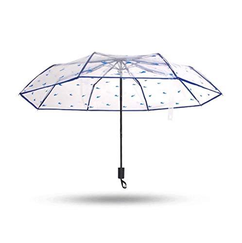 QFUNDAS Anti-UV Paraguas para Mujer 11, Flor Transparente Arrugas Paraguas Lluvioso, para Mujer Portátil Lápiz Mini Soleado Paraguas A Prueba de Viento Paraguas Tran