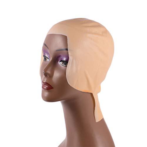 FRCOLOR Maquillaje Ltex Gorras Calvas Doble Peluca de Cabeza Calva Gorra de Ltex Gorra Calva Disfraz para Adultos Hombres Mujeres 2 Piezas
