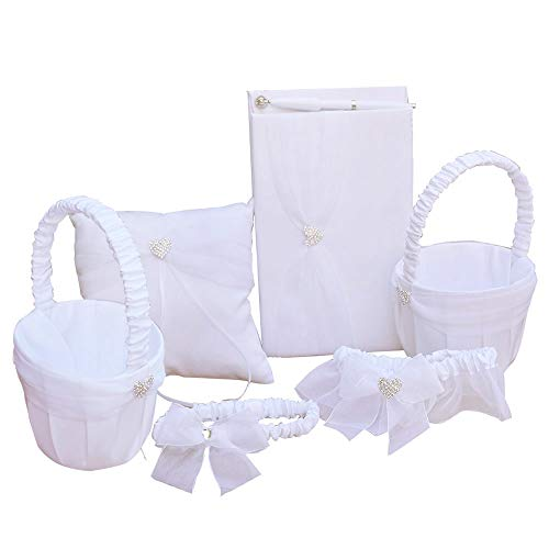 Awtlife 6 Sets Wedding Flower Girl Basket Guest Book Pen Ring Pillow Garter