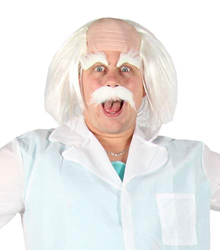 Foxxeo weiße Perücke strubbelig mit Halbglatze Augenbrauen und Bart verrückter Professor Einstein Alter Opa Greis Karneval Party