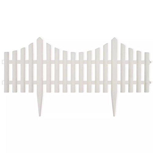 Kunststoffzaun, Miniatur-Zaun 17er Set Gartenzaun 10 m Beeteinfassung Beetumrandung Palisade Zierzaun, weiß